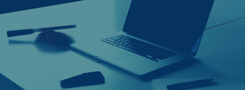 Blue laptop blank